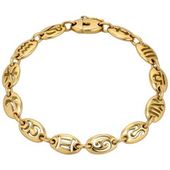 Vintage Zodiac Gold Bracelet
