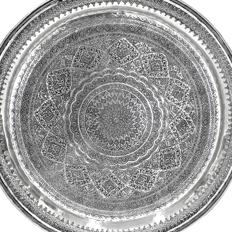 Extremely gorgeous and unique piece of art. Old round silver tray.  .900 proof silver. Very detailed and delicate hand carved.  Designer: josdani Weight: 1564 grams Diameter= 16 inches