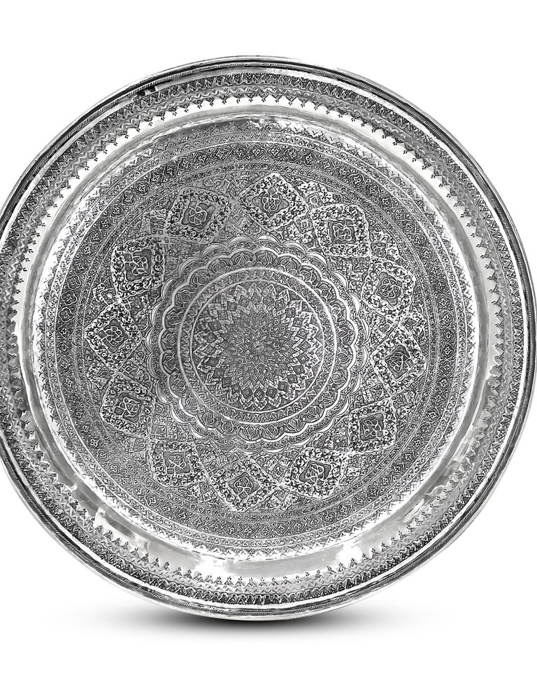 Artisan Vintage, Exotic, Old, Round Silver Tray, Extreme Detailed Hand Carved For Sale