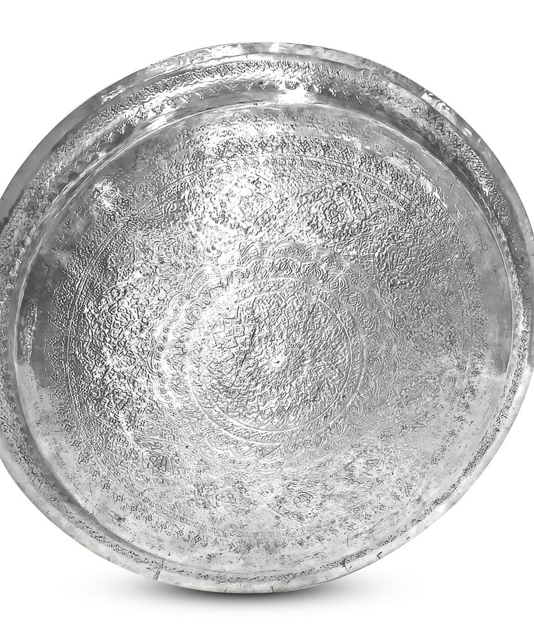 Women's or Men's Vintage, Exotic, Old, Round Silver Tray, Extreme Detailed Hand Carved For Sale
