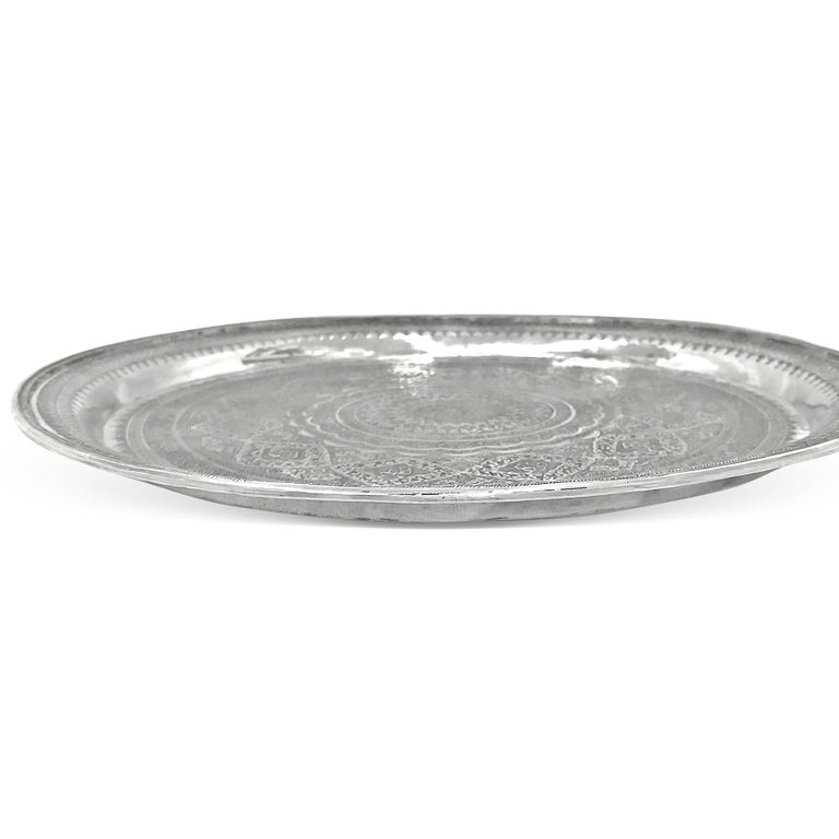 Vintage, Exotic, Old, Round Silver Tray, Extreme Detailed Hand Carved For Sale 1