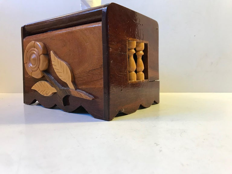 VintageScandinavian Folk Art Hand Towel Box in Mixed Woods, 1970s For Sale 1