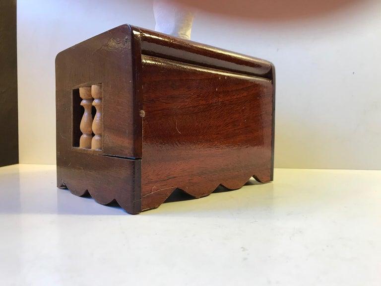 VintageScandinavian Folk Art Hand Towel Box in Mixed Woods, 1970s For Sale 2