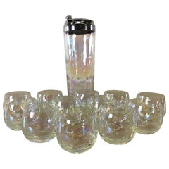Vintgae 1960s Iridescent Cocktail Shaker & Tumblers, Set of 13