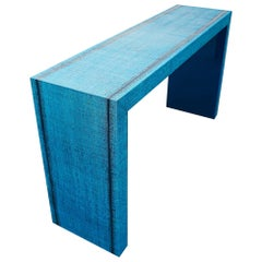 Vinyl Waterfall Console with Deep Blue Lacquered Underside
