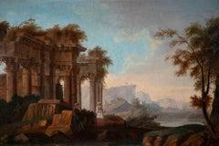 Ancient Ruins - Original Oil Painting by Vinzenz Fischer - Late 18th Century