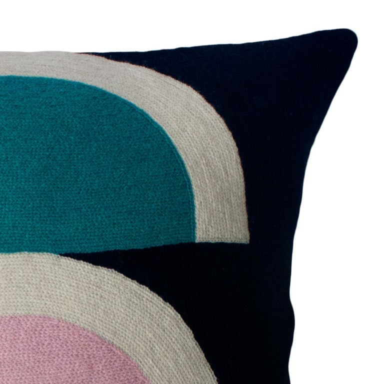 Indian Viola Black Hand Embroidered Modern Geometric Throw Pillow Cover For Sale