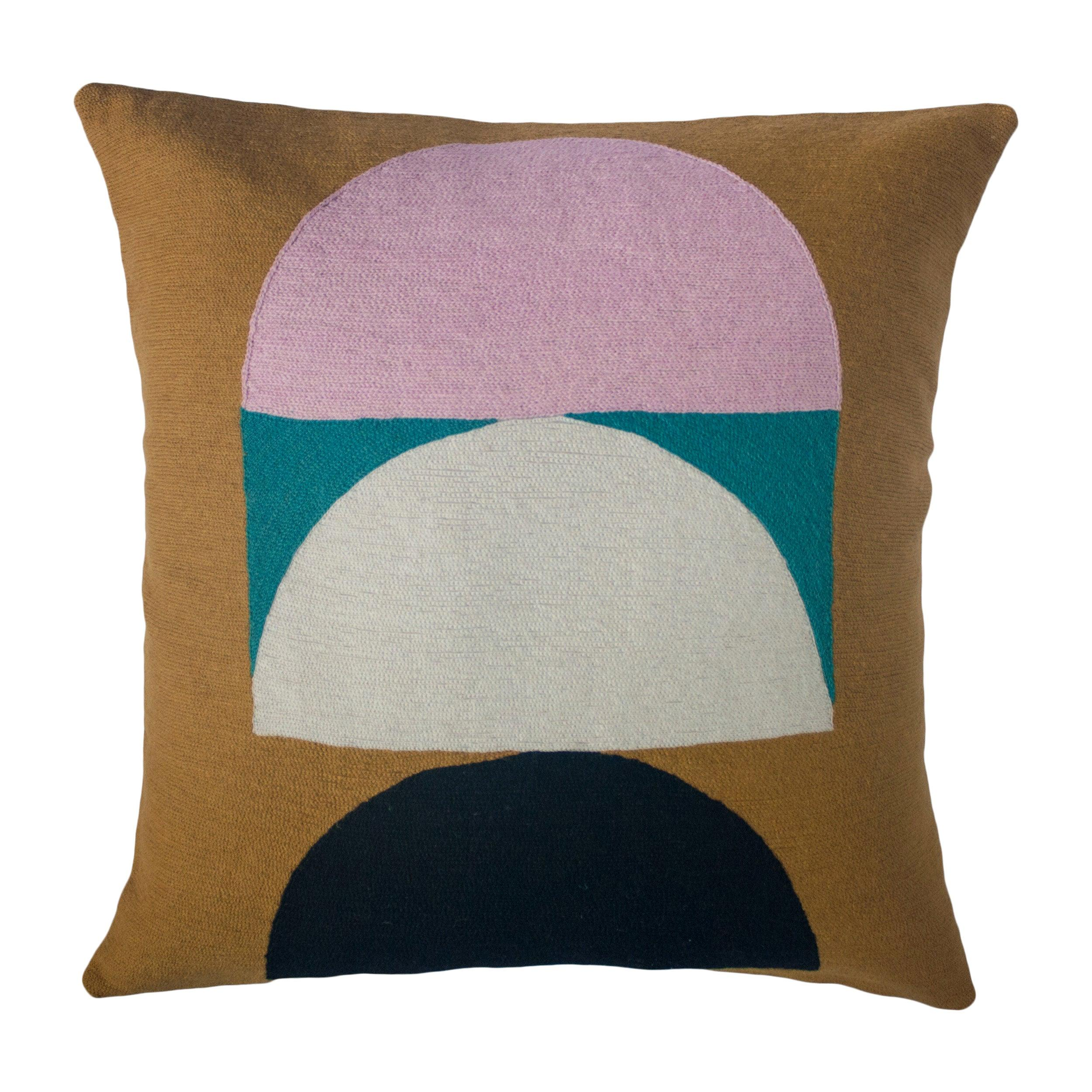Viola Ochre Hand Embroidered Modern Geometric Throw Pillow Cover