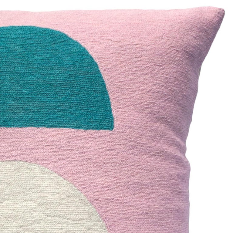 Indian Viola Pink Hand Embroidered Modern Geometric Throw Pillow Cover For Sale