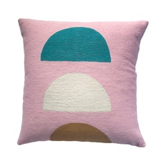 Viola Pink Hand Embroidered Modern Geometric Throw Pillow Cover