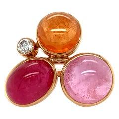 "Georg Spreng - ""Viola Ring"" 18K Gold Mandarin, Tourmaline, Rubelite and Diamond"