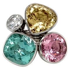 Georg Spreng - Viola Ring Platinum 950 Gold Beryl, Tourmaline, Beryl, Diamond