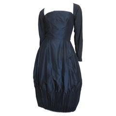 Viola Silk Dress with Cartridge Pleats 1950s
