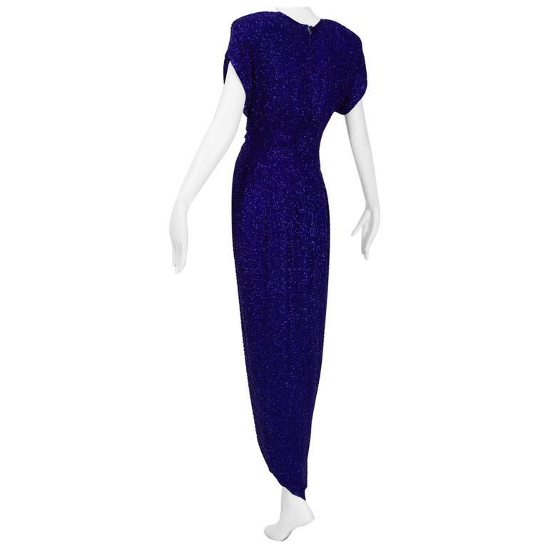 Violet Art Deco Beaded Hobble Gown with Pointed Waterfall Skirt - Small, 1980s For Sale