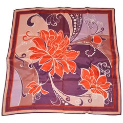 "Violet Border With ""Floral Fantasy"" Acetate Scarf"