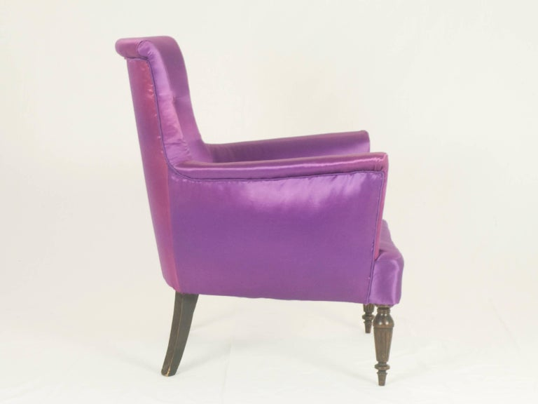 Ebonized Violet Fabric Italian Armchairs from 1950s, Set of Two For Sale