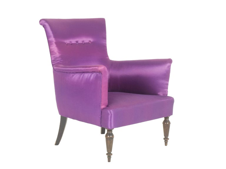 Violet Fabric Italian Armchairs from 1950s, Set of Two For Sale 1