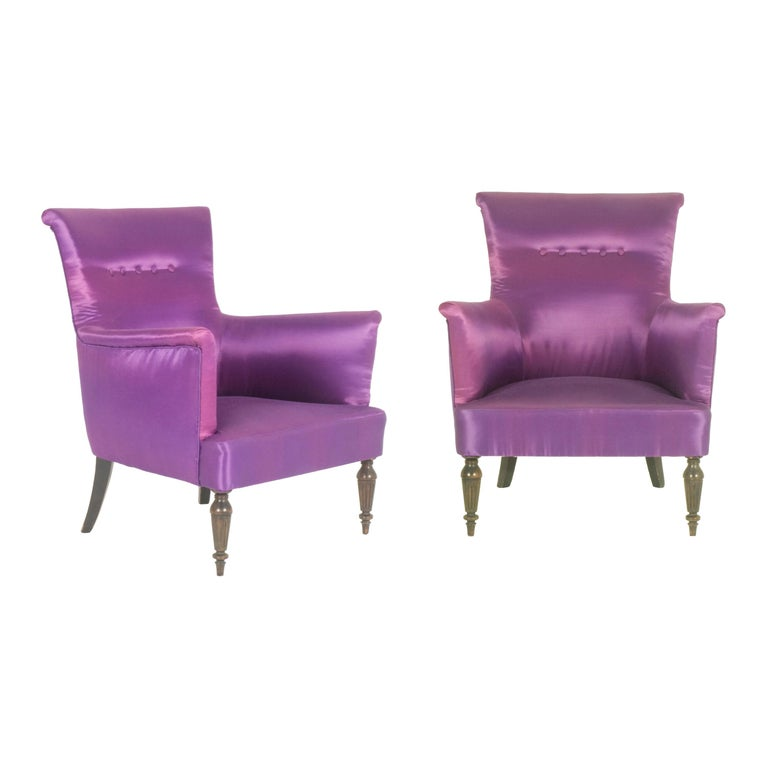 Violet Fabric Italian Armchairs from 1950s, Set of Two For Sale