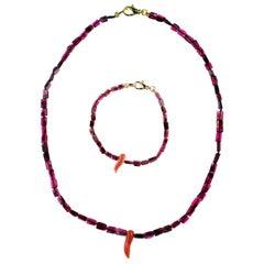 Violet Garnet Coral Horn Sterling Silver Beaded Cocktail Necklace Bracelet Set