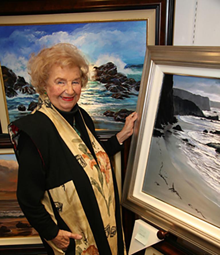 Large 4.5-Foot Framed Oil on Canvas Realist Seascape by Violet Parkhurst For Sale 9