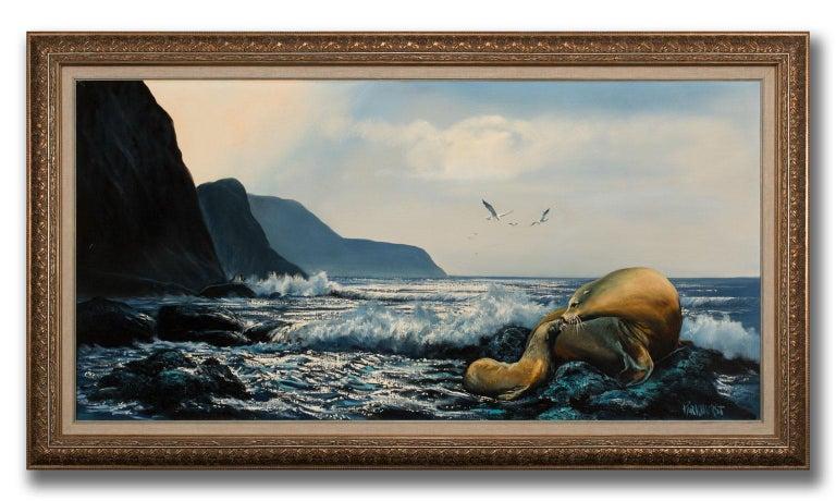 Large 4.5-Foot Framed Oil on Canvas Realist Seascape by Violet Parkhurst For Sale 1