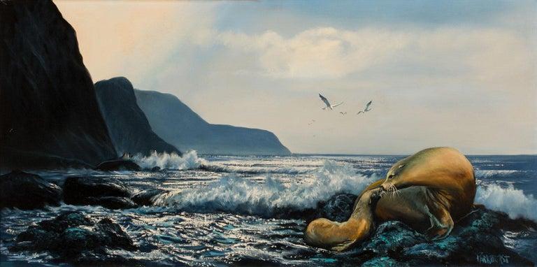 Large 4.5-Foot Framed Oil on Canvas Realist Seascape by Violet Parkhurst For Sale 2