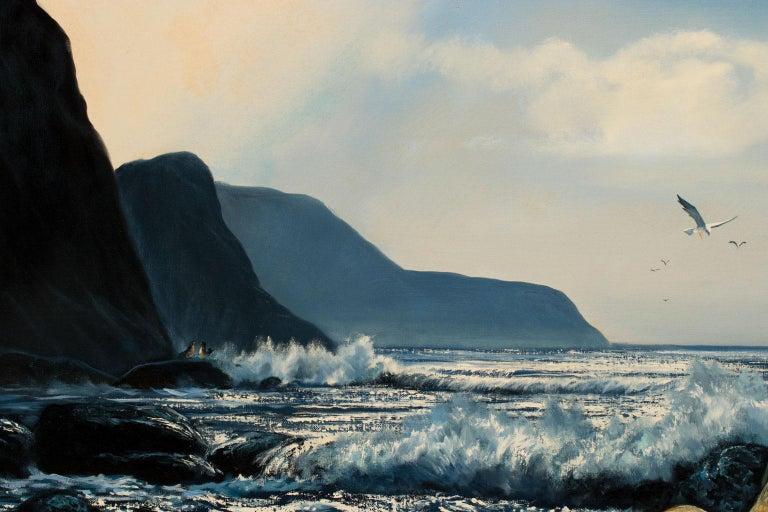 Large 4.5-Foot Framed Oil on Canvas Realist Seascape by Violet Parkhurst For Sale 3