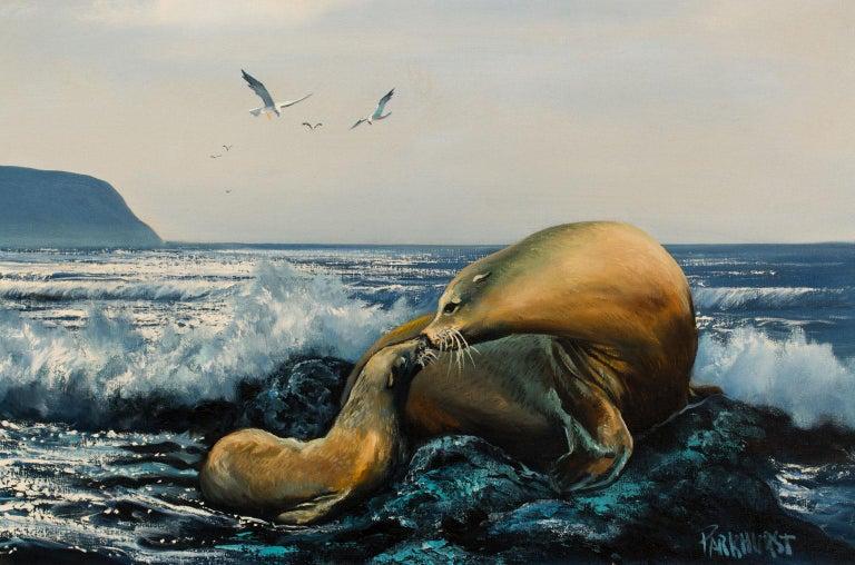 Large 4.5-Foot Framed Oil on Canvas Realist Seascape by Violet Parkhurst For Sale 4
