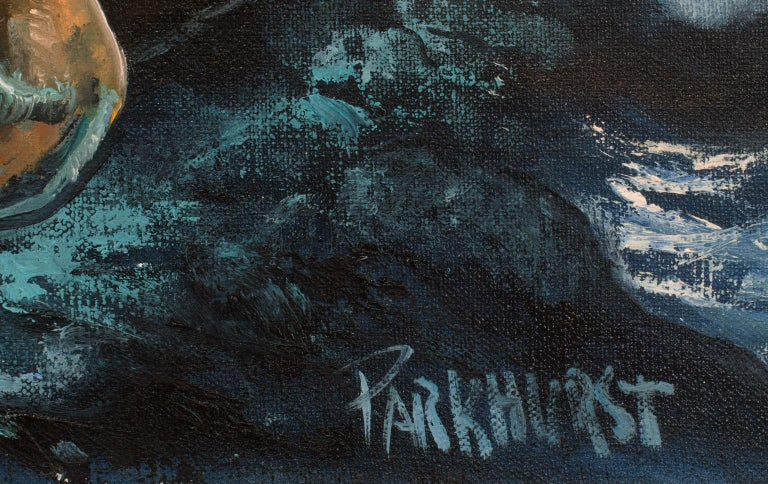 Large 4.5-Foot Framed Oil on Canvas Realist Seascape by Violet Parkhurst For Sale 5