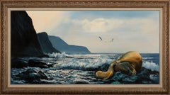 Large 4.5-Foot Framed Oil on Canvas Realist Seascape by Violet Parkhurst