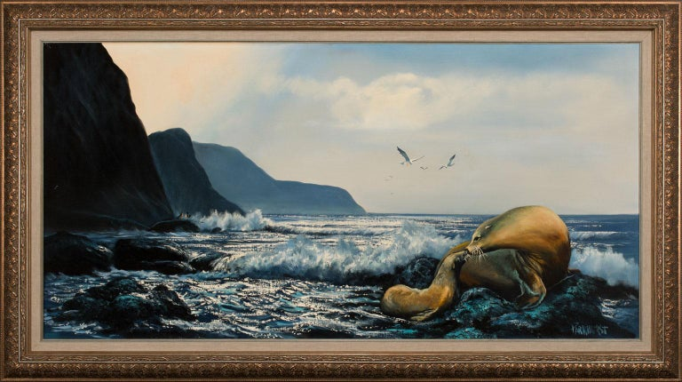 Untitled Seascape, an original oil on canvas by Violet Parkhurst, is a piece for the true collector. Parkhurst's unique ability to capture the ocean is second-to-none. Her works have captivated viewers for eight decades. She is regarded as one of