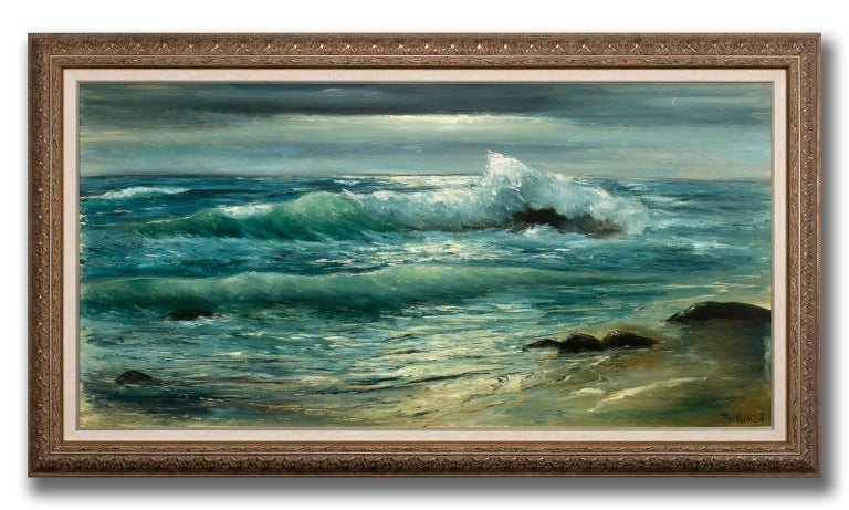 Large 4.5-Foot Framed Realist Seascape Oil Painting on Board by Violet Parkhurst For Sale 1