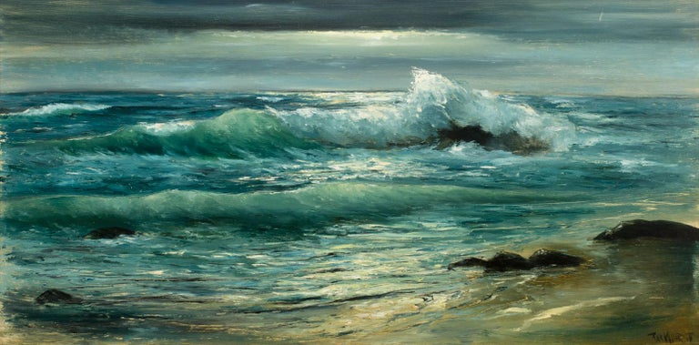 Large 4.5-Foot Framed Realist Seascape Oil Painting on Board by Violet Parkhurst For Sale 2