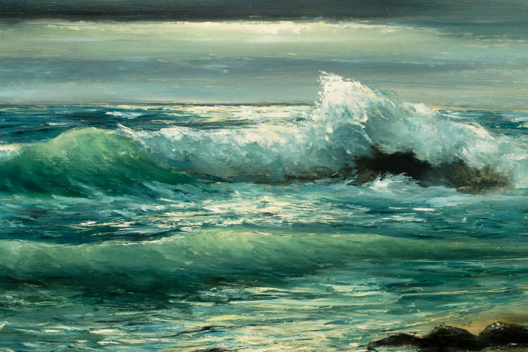 Large 4.5-Foot Framed Realist Seascape Oil Painting on Board by Violet Parkhurst For Sale 3