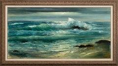 Large 4.5-Foot Framed Realist Seascape Oil Painting on Board by Violet Parkhurst