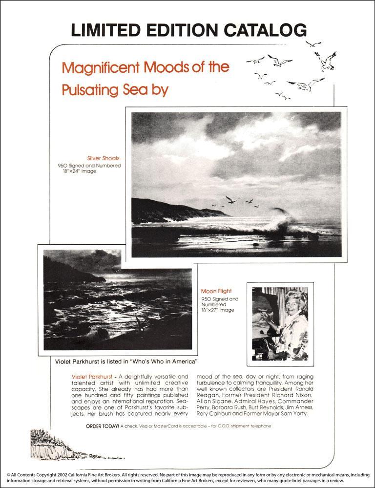 """Moonflight"" Limited Edition Hand-Signed Seascape by Violet Parkhurst For Sale 3"