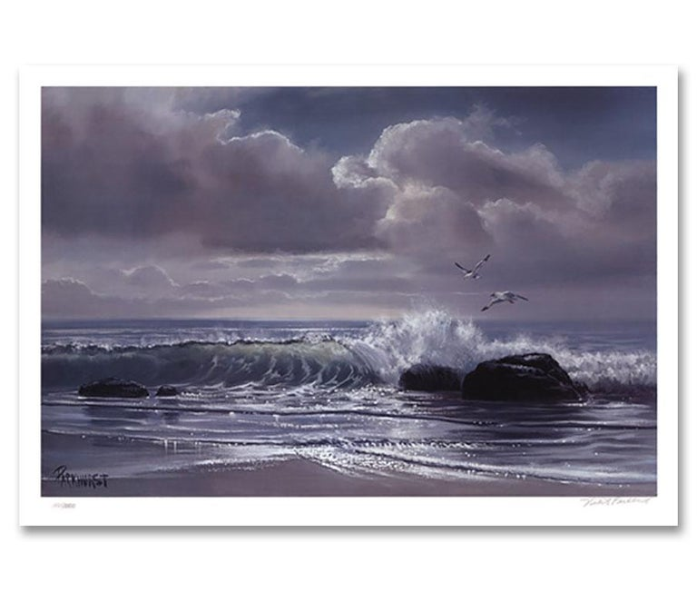 """""""Moonflight,"""" a Limited Edition and Hand-Signed Seascape by Violet Parkhurst, is a piece for the true collector.A favorite amongst coastal home interiors and those who have an affinity for the sea, nature, and landscapes - this masterful work would"""