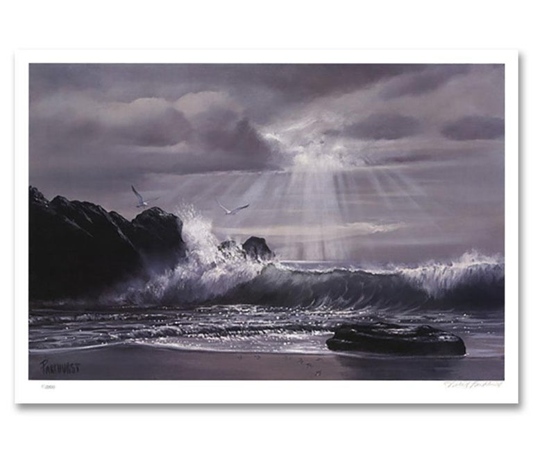 """""""Wee Small Hours of the Morning,"""" a Limited Edition and Hand-Signed Seascape by Violet Parkhurst, is a piece for the true collector.A favorite amongst coastal home interiors and those who have an affinity for the sea, nature, and landscapes - this"""