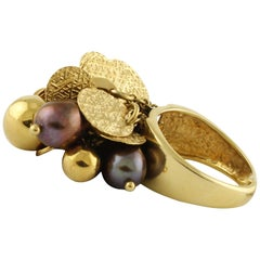 Violet Pearls Yellow Gold Ring