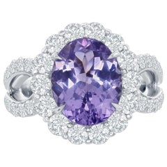 Violet Pink Tanzanite and Diamond Ring by Takat
