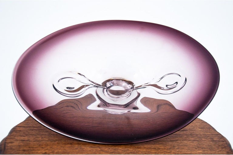 Glass fruit / cake plate The plate comes from the 1970s. Czech production Very good condition, no damage Dimensions: height 11.5 cm / width 44 cm / depth 30 cm.