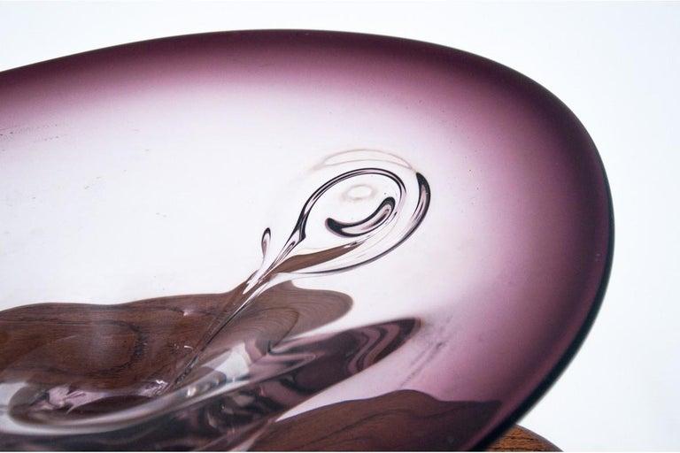 Mid-Century Modern Violet Platter, Czech Glass, 1970s