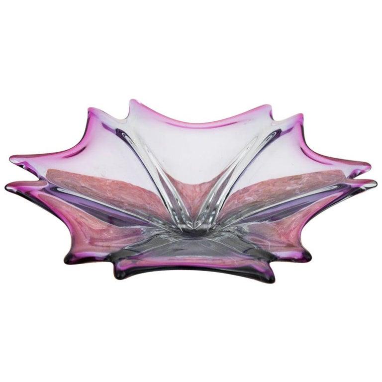 Violet Platter, Czech Glass, 1970s For Sale