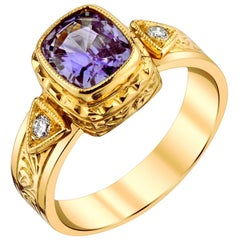 Violet Sapphire & Diamond 18 Karat Yellow Gold Bezel Set Hand Engraved Band Ring