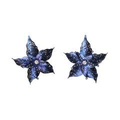 Violet Titanium Flower Earrings
