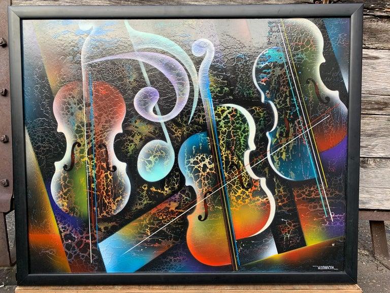 Framed painting on board by Nierman depicting violins.
