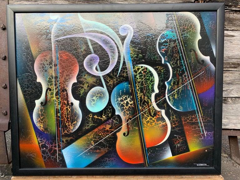 Mid-Century Modern Violin Painting by Artist Nierman For Sale