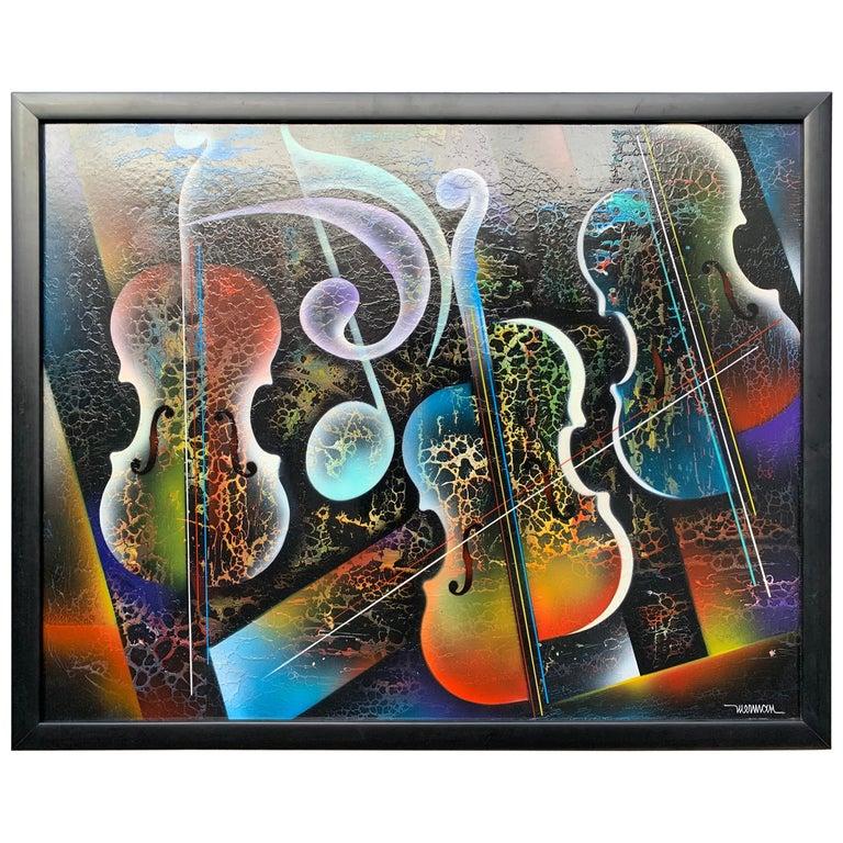 Violin Painting by Artist Nierman For Sale