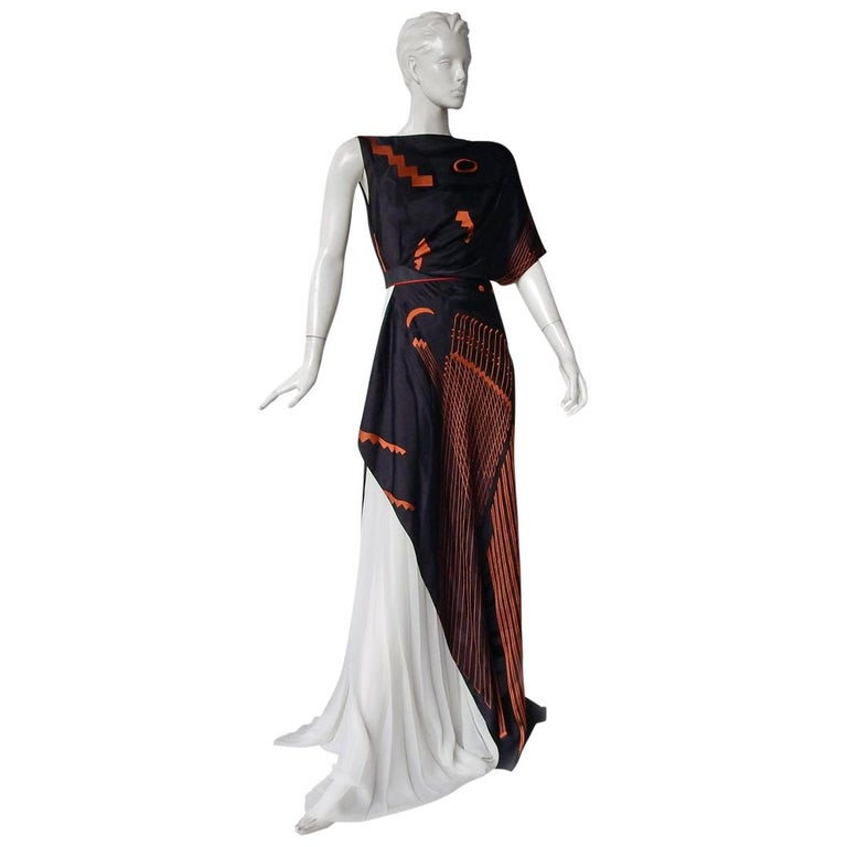 "Vionnet ""Black Picasso"" Runway Geometric Grecian Inspired Asymmetric Dress Gown  For Sale"