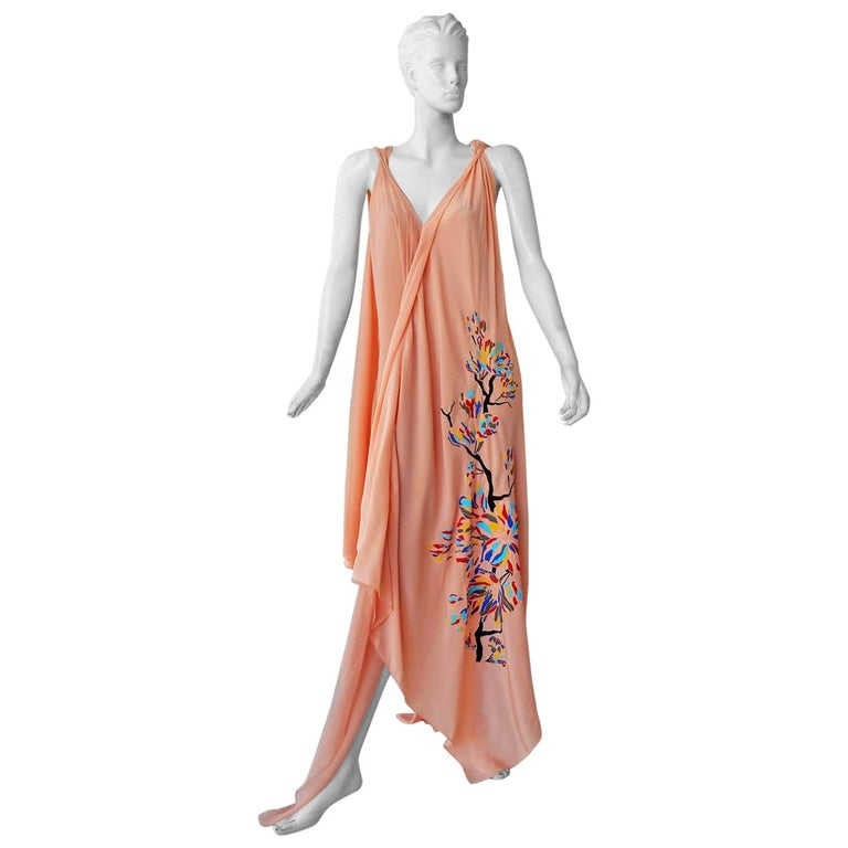 """Vionnet """"Dahlia"""" Flowing Silk Chiffon Embroidered Runway Caftan Dress Gown For Sale"""
